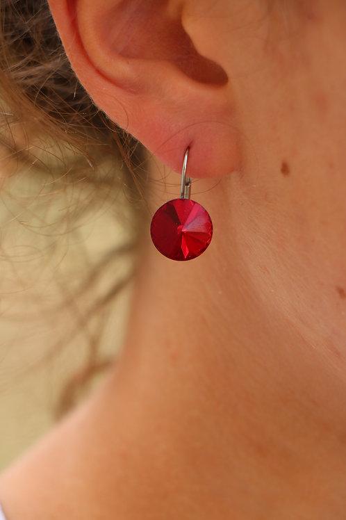 Boucles d'oreilles rivoli Swarovski rouge