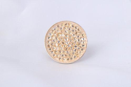 Bague disque de cristal doré