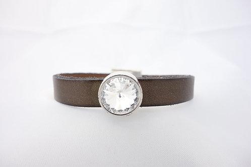 Bracelet cuir kaki et cristal