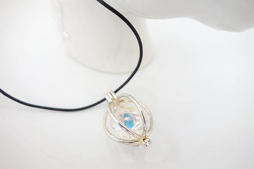 Collier cage et cristal Swarovski blanc