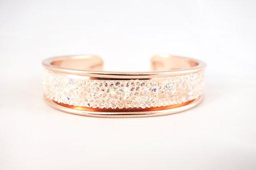 Bracelet jonc doré rose et cristal Swarovski