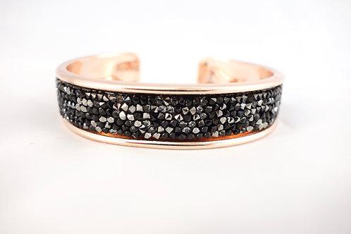 Bracelet jonc doré rose et Swarovski noir