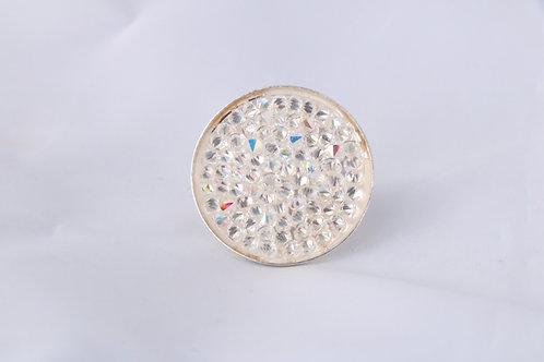 Bague disque de cristal blanc