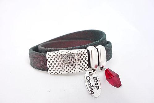 Bracelet cuir à reflets rouge et cristal rouge