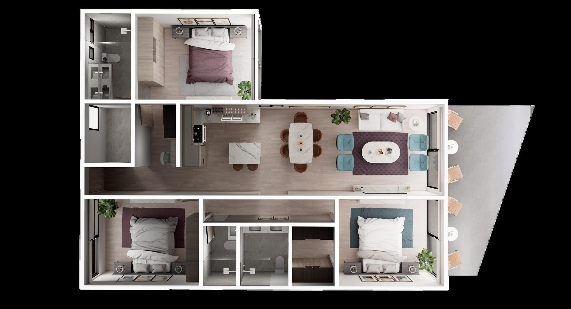 UR-CC Villas-Villa B-3D Floor Plan V1.pn