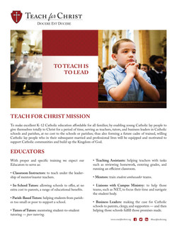 Teach for Christ | Page Ad