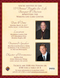 Knights for Life Banquet | Invite