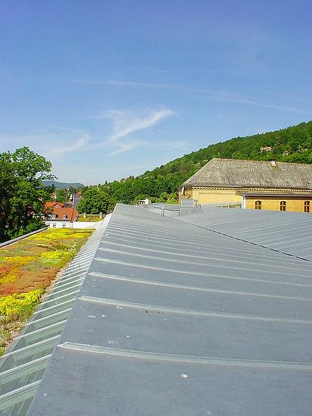 Rudolstadt Gymnasium Fridericium Dacheindeckung mit Doppelstehfalzeindeckung aus Rheinzink walzblank.