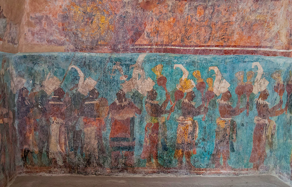 Bonampak_mural._Room_1._Musicians_and_da