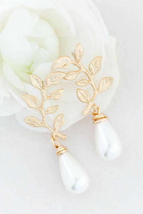 Leaf Pearl Drop Bridal Earrings