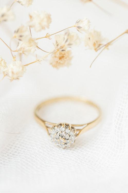 diamond flower engagement ring