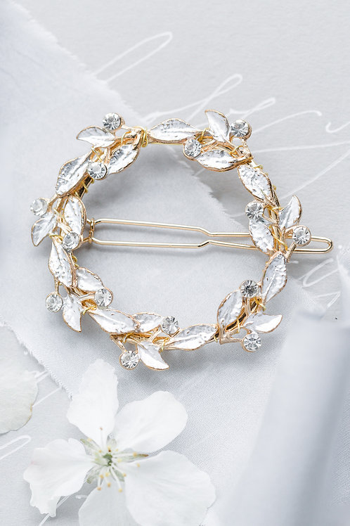gold leaf and crystal hairpin