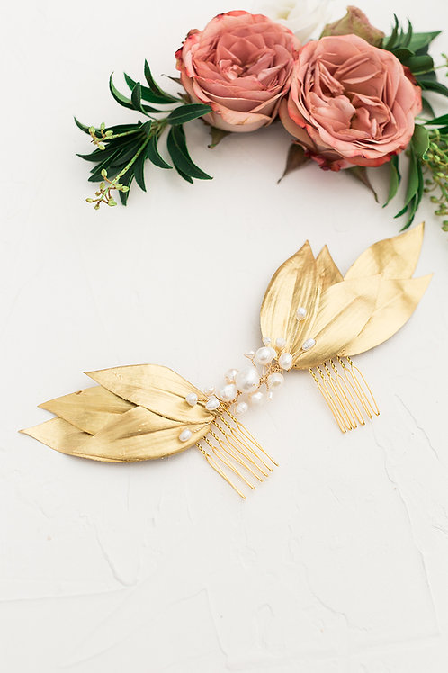 Gold Leaf Pearl Hairpiece Bridal