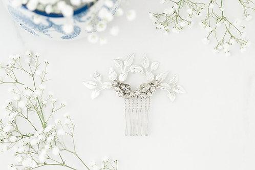 Silver Leaf Bridal Comb