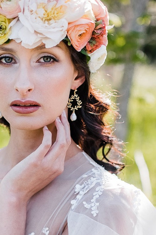 Gold Leaf Bridal Earrings