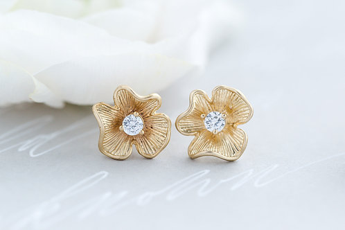 Gold Flower Crystal Studs