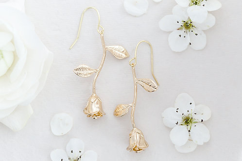Gold Rose Bridal Earrings