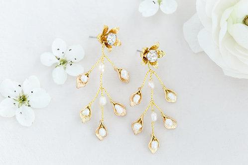 Pearl Leaf Vine Earrings