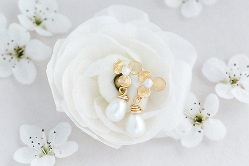 Gold Flower Pearl Earrings