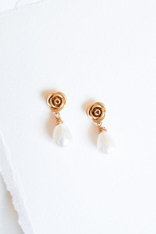 rose bridal earrings