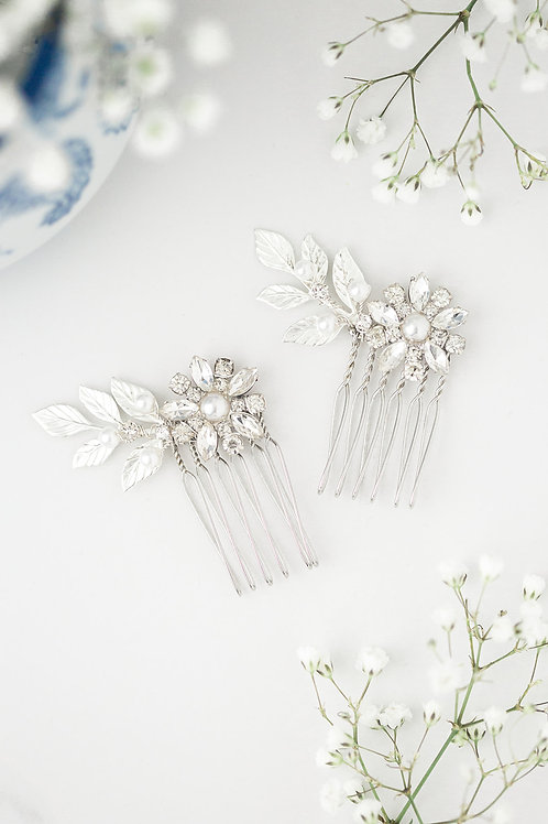 Silver Flower Bridal Comb