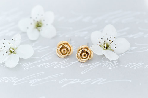Gold Rose Bridal Studs