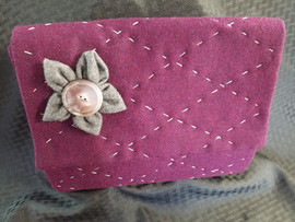 Hand Quilted Flannel Clutch with fabric flower and button