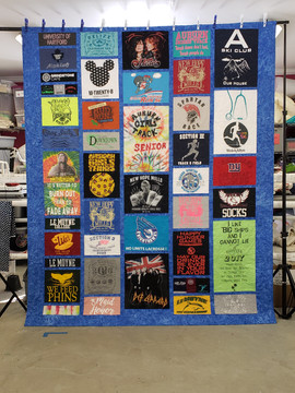 Full Size Custom style same sashing and border fabric T-shirt quilt.