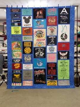 Full Size Custom style same sashing and border fabric T-shirt quilt.