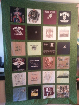 Ex-Long Twin size Block Style with same sashing and border fabric T-shirt quilt.