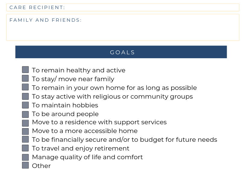 Family Caregiver Goals