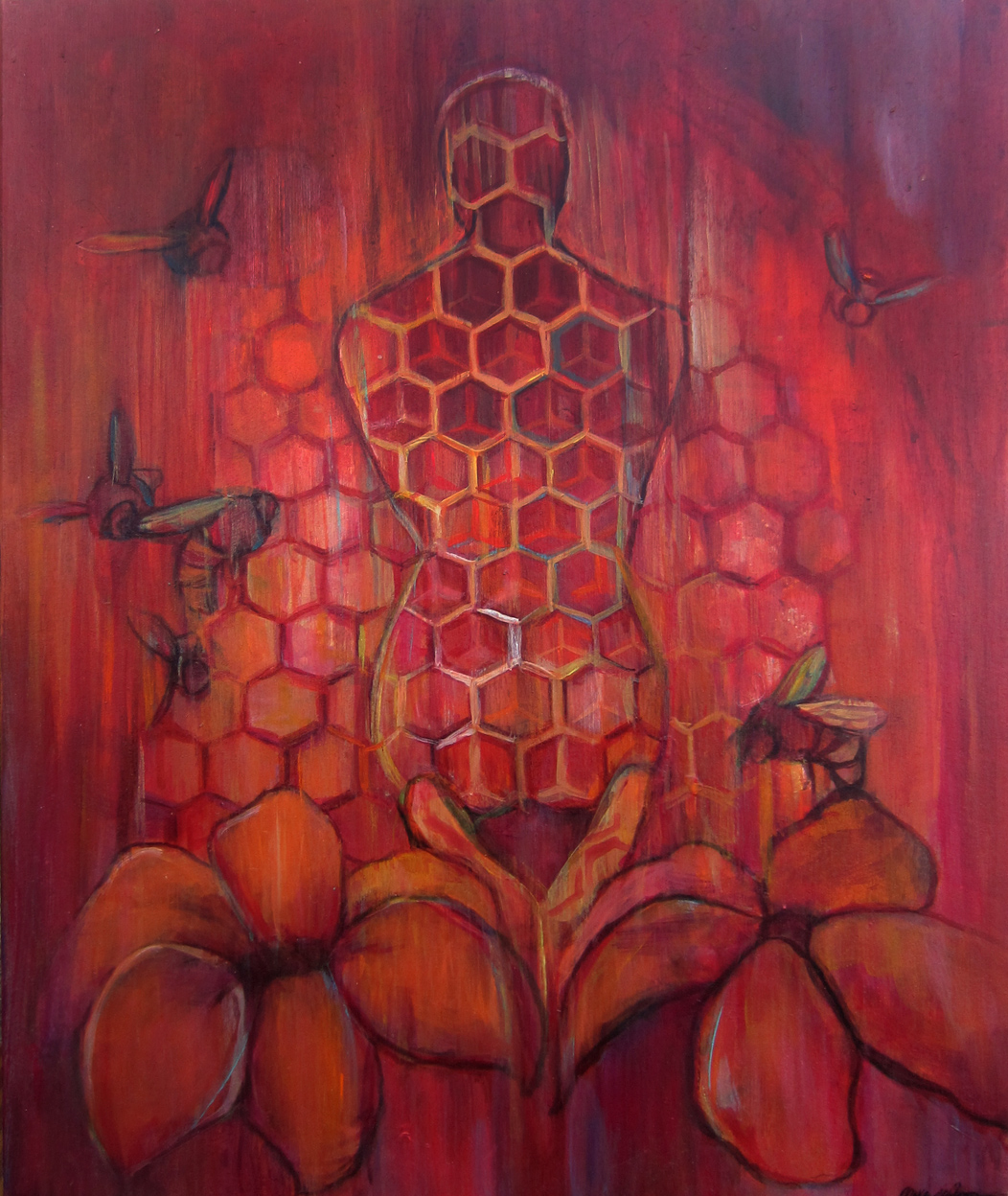 Shared Space-Hive. 12x15 in.