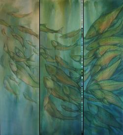 Losing Color-Trout. 3 panels, 2x6 ft each