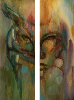 Human Nature-Owl #1. 2 panels 10x20 in. each.