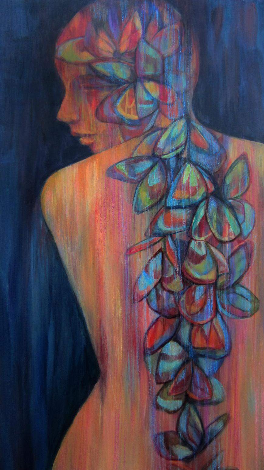 Backbone Series- Petals and Wings, #1. 15x30 in.