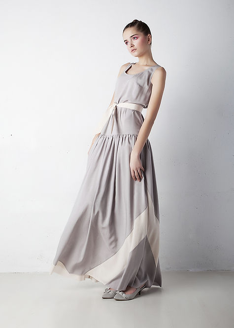 Woman in grey dress