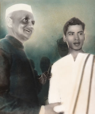 Young Narasimhan being honored by the former Prime Minister of India, Lal Bahadur Shastri