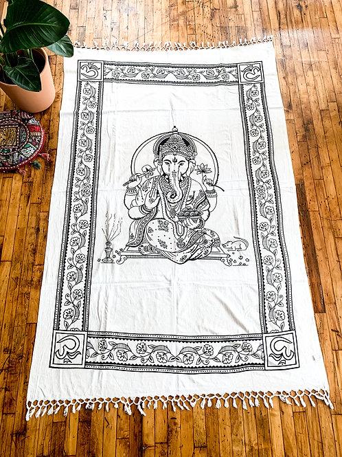 Black + White Ganesh Tassel Throw