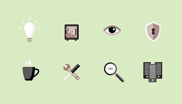 V-Hosting ikoner illustrasjoner