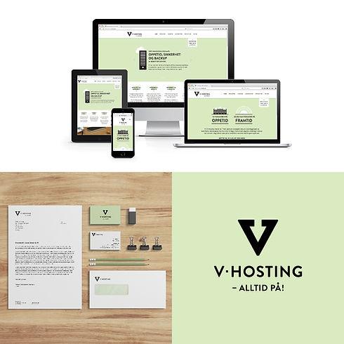 V-hosting logo, identitet