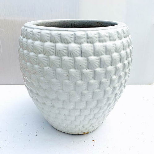 Textured White Planter Pot