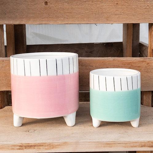 Pastels & Stripes Footed Pot