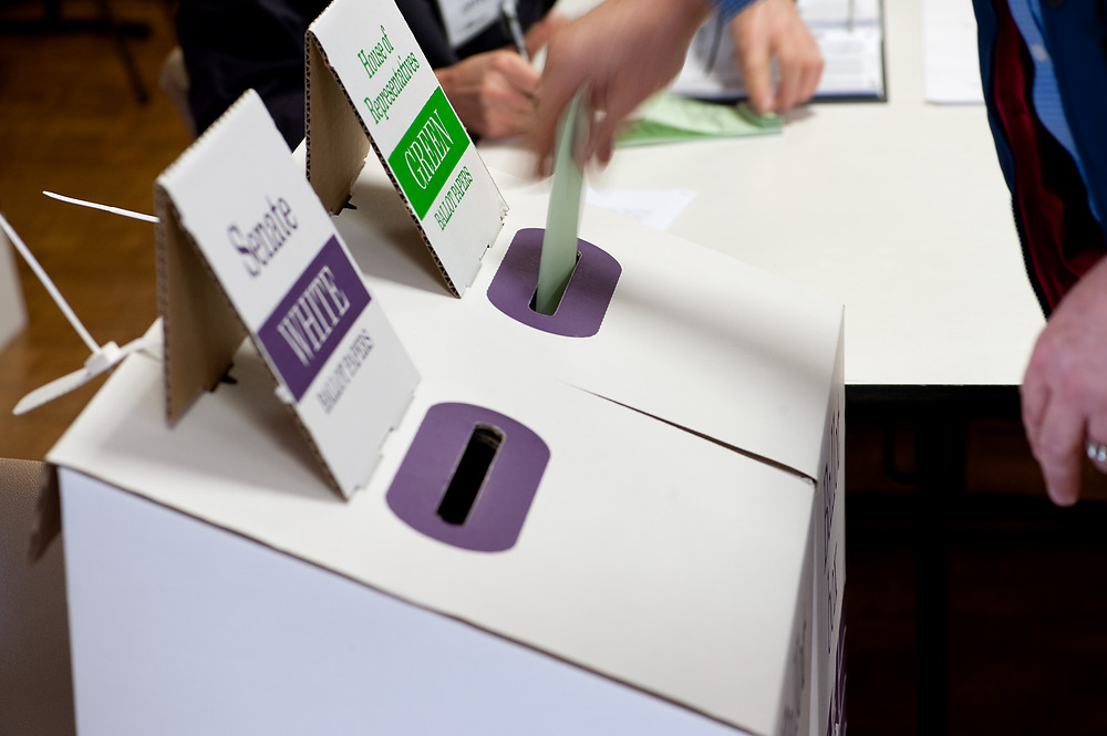 Picture of two ballot boxes