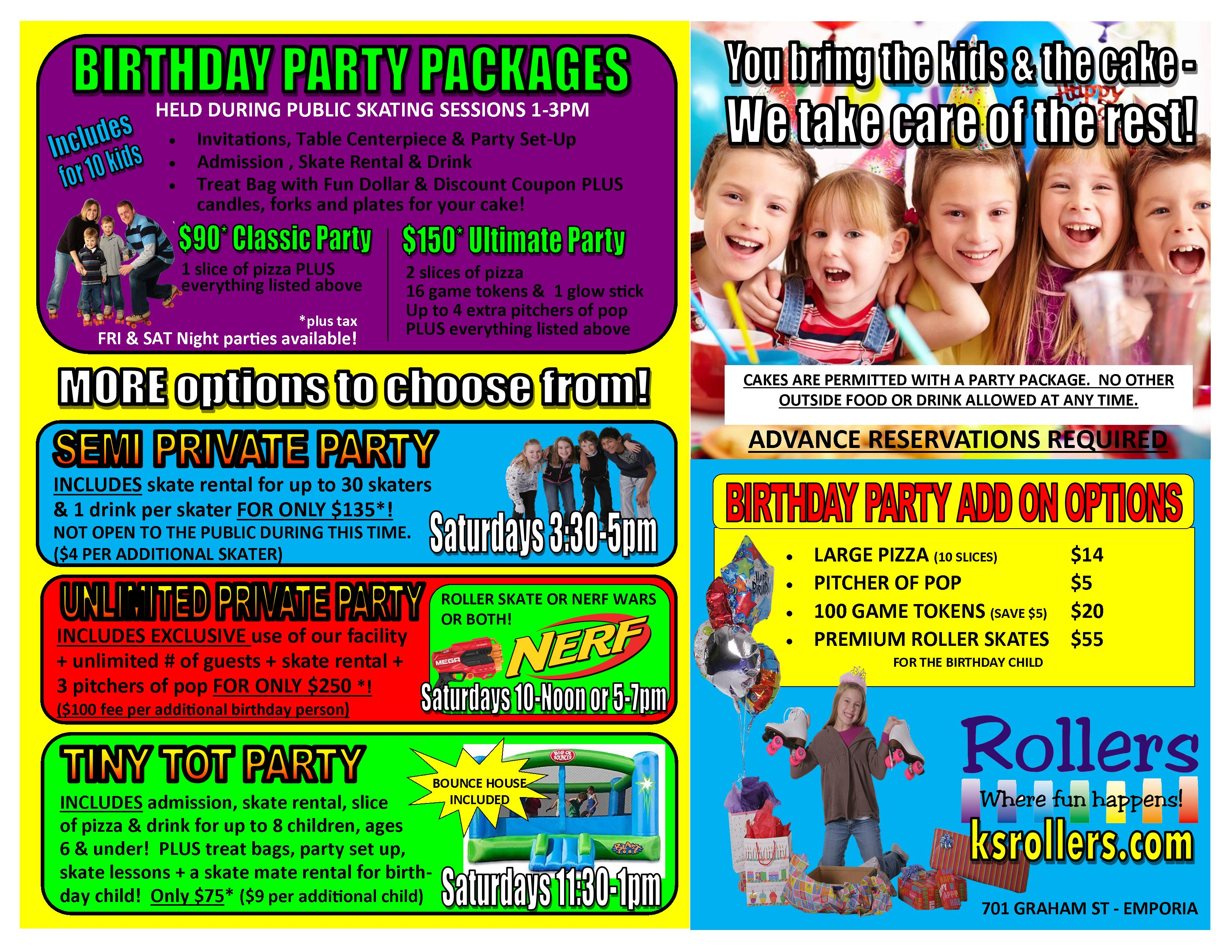 birthday party pacakge options 100120