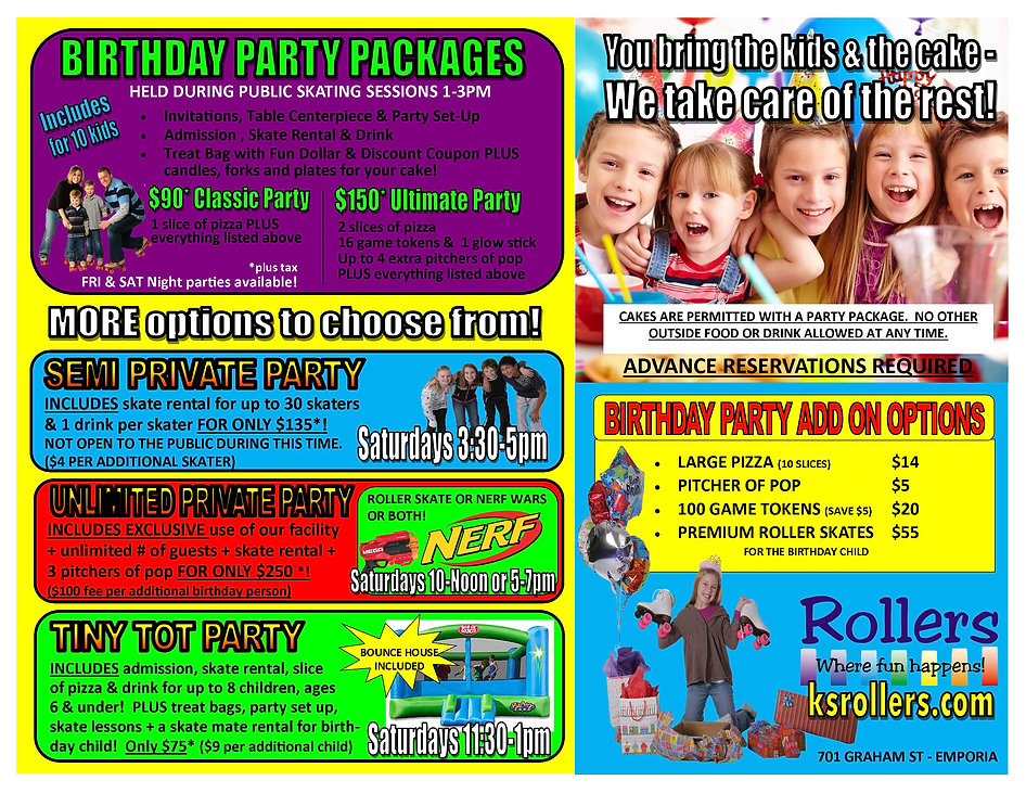 birthday party pacakge options 100120.jp