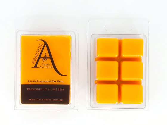 passionfruit and lime scented wax melts pack clamshell 6 cubes fragranced wax melts with armonie logo label