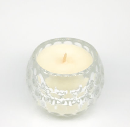 black raspberry scented candle in decorative glass bauble jar