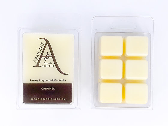 caramel wax melts pack clamshell 6 cubes fragranced wax melts with armonie logo label