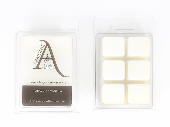 tobacco and vanilla wax melts pack clamshell 6 cubes fragranced wax melts with armonie logo label