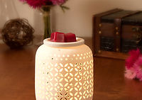 Armonie white patterned wax melt warmer with black raspberry melts warming in the electric warmer